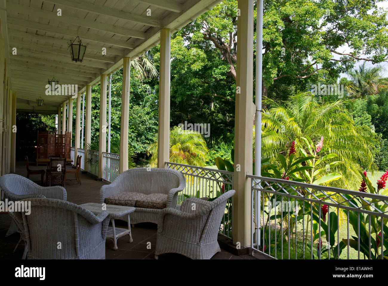 Wicker Furniture On The Porch Of Eureka House, A Restored Colonial House In  Moka, Mauritius, The Indian Ocean