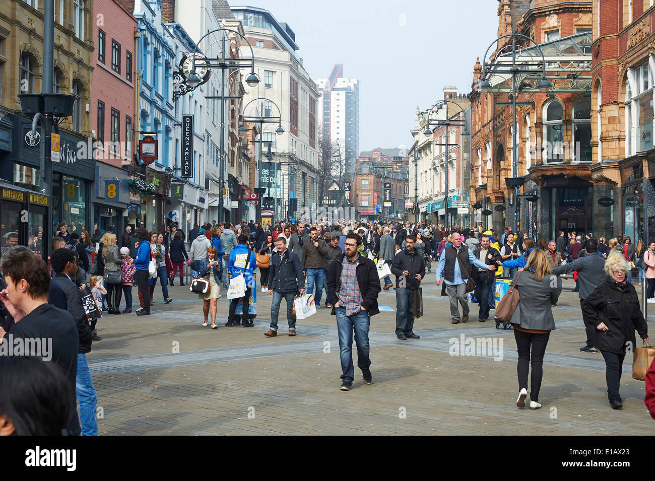 Briggate, Leeds City Centre retail area on a busy Saturday afternoon, West Yorkshire, Northern England UK - Stock Image