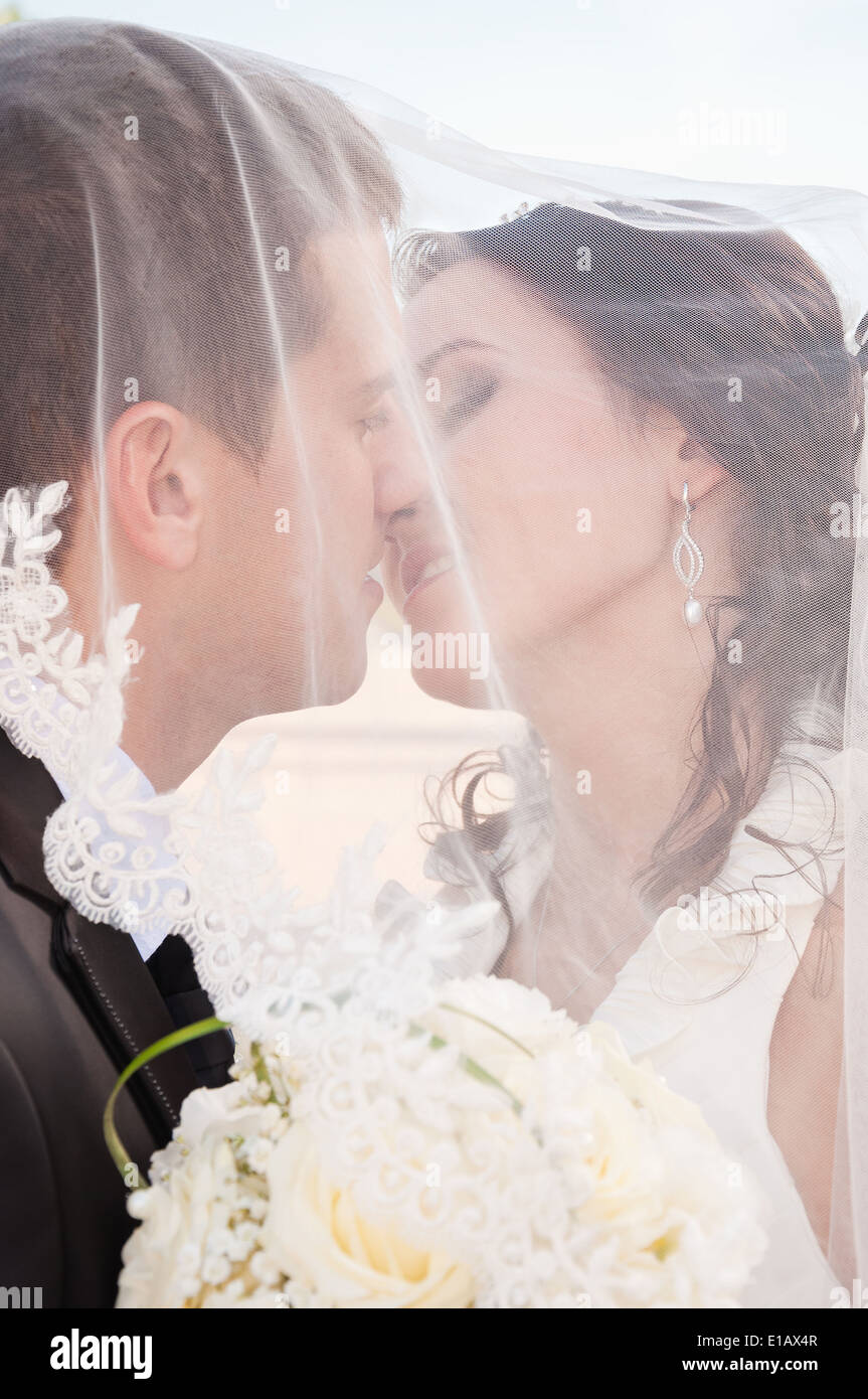 newlyweds tenderly kissing under the veil - Stock Image
