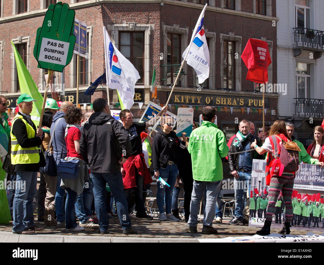 Group of people protesting in the streets at the European Commission in Brussels Belgium - Stock Image