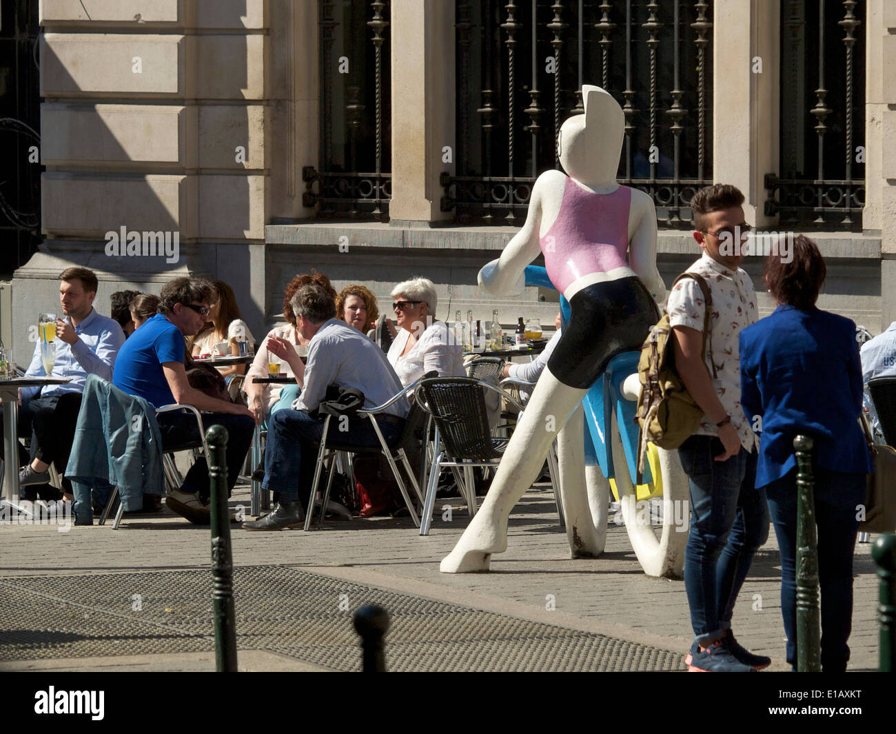 People sitting outside and drinking a beer in the sun, Brussels city center, Belgium Stock Photo