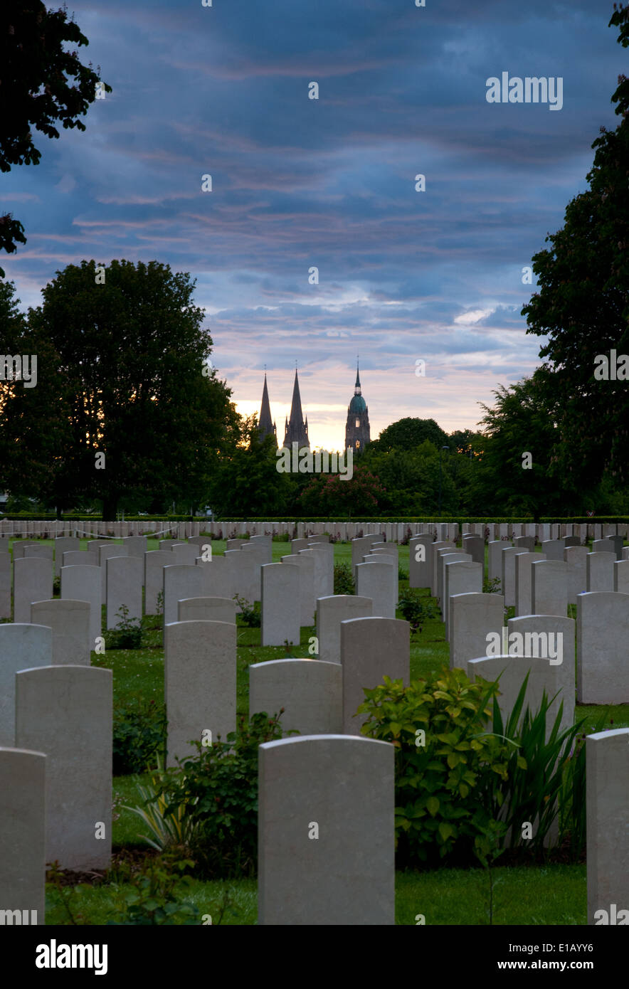 Bayeux British cemetery with graves of soldiers killed in Normandy invasion Stock Photo