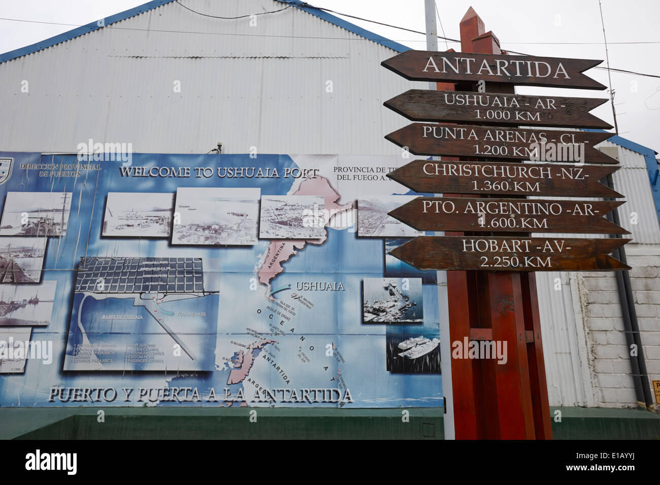 distance markers for various points from antarctica Ushuaia Argentina - Stock Image