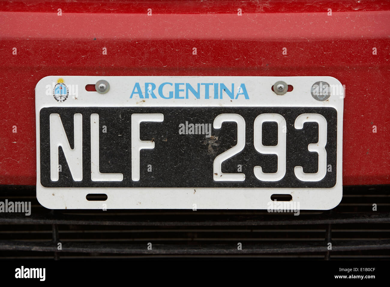 argentina license number plate tag Ushuaia Argentina - Stock Image