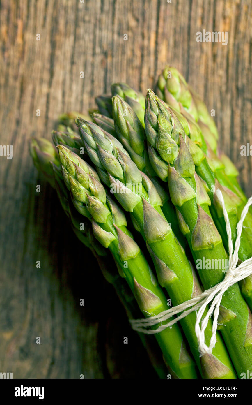 top view of green asparagus - Stock Image