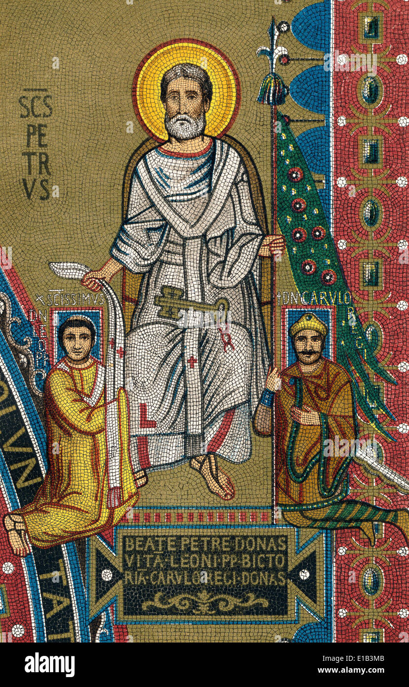 Roman Triclinium mosaic, St. Peter giving a pallium to Pope Leo III and the banner of Rome to Charlemagne, Charles the Great - Stock Image