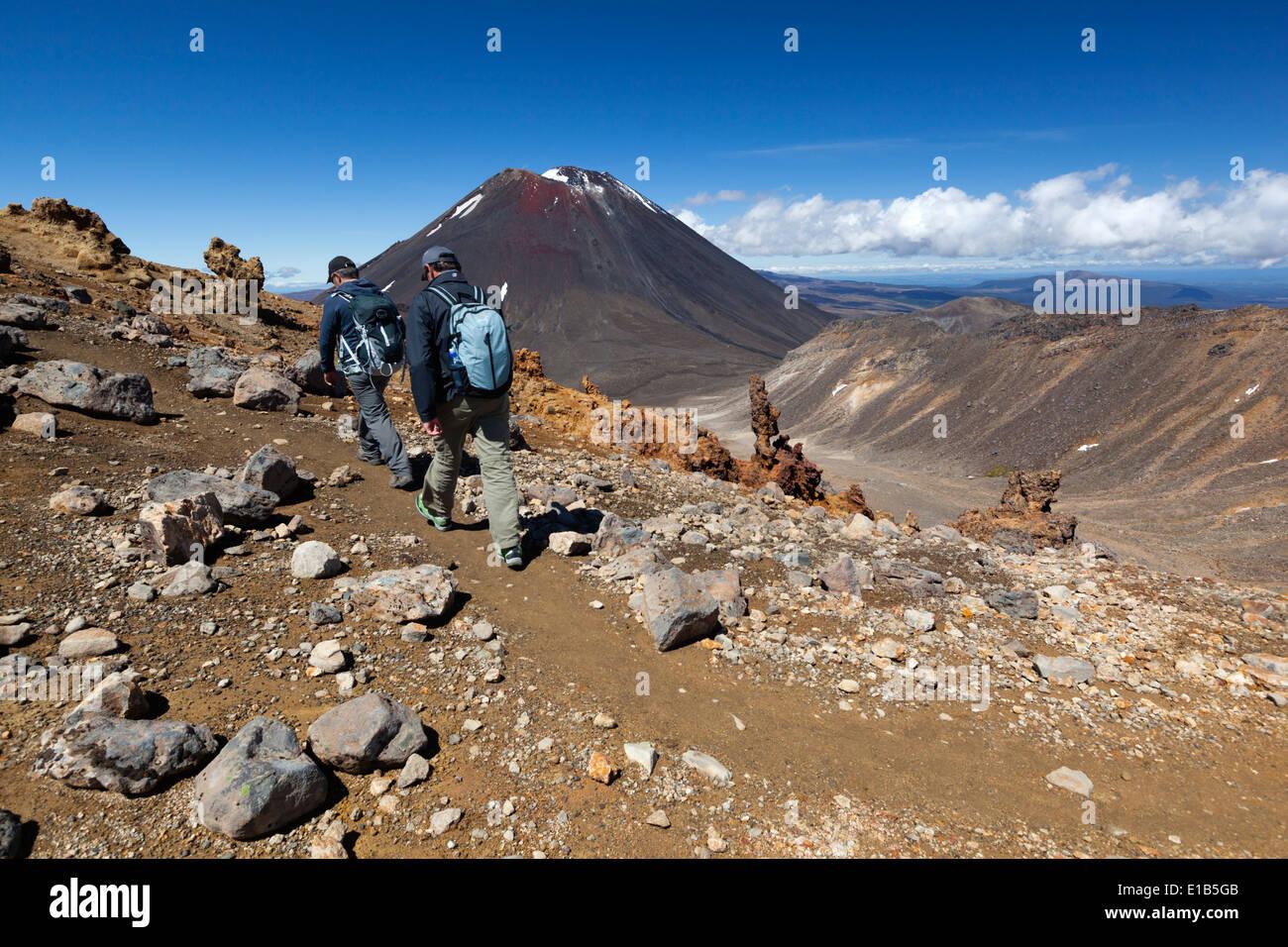 Tongariro Alpine Crossing with Mount Ngauruhoe - Stock Image