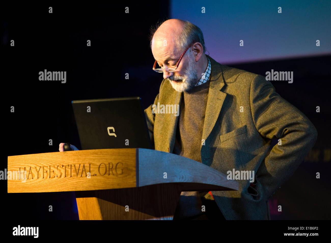 Raymond Tallis philosopher talking about 'Tetchy Interludes' from his latest book 'Epithemean Imaginings' at Hay Festival 2014. - Stock Image
