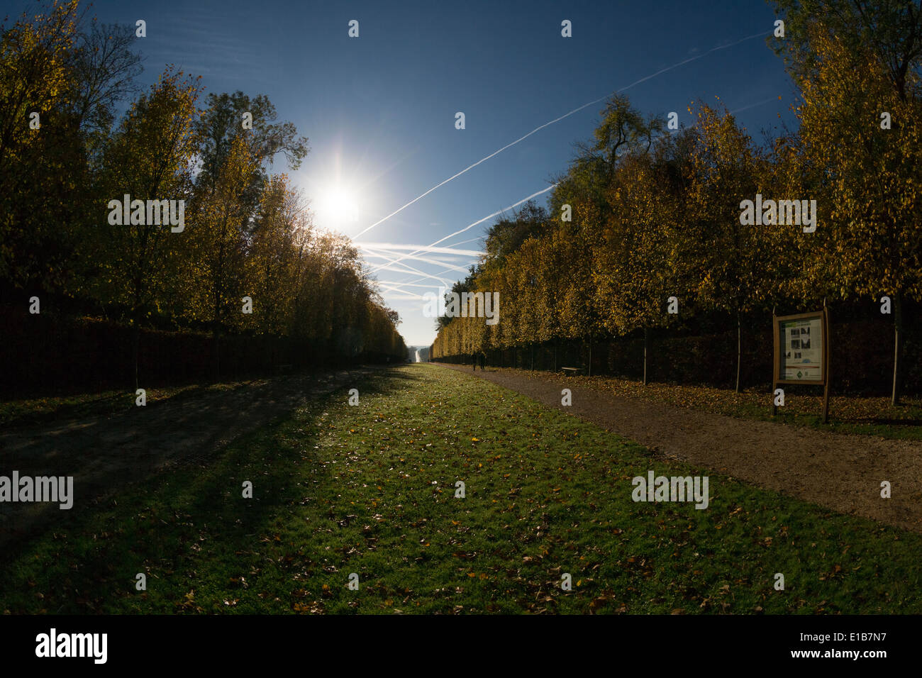 Sceaux Park at an autumnal morning. Blue sky. - Stock Image