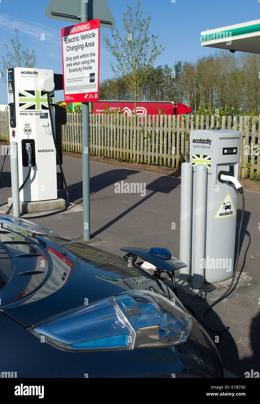 Ecotricity free electric car charging point at Michaelwood motorway service station on the M5 North bound gloucestershire Stock Photo