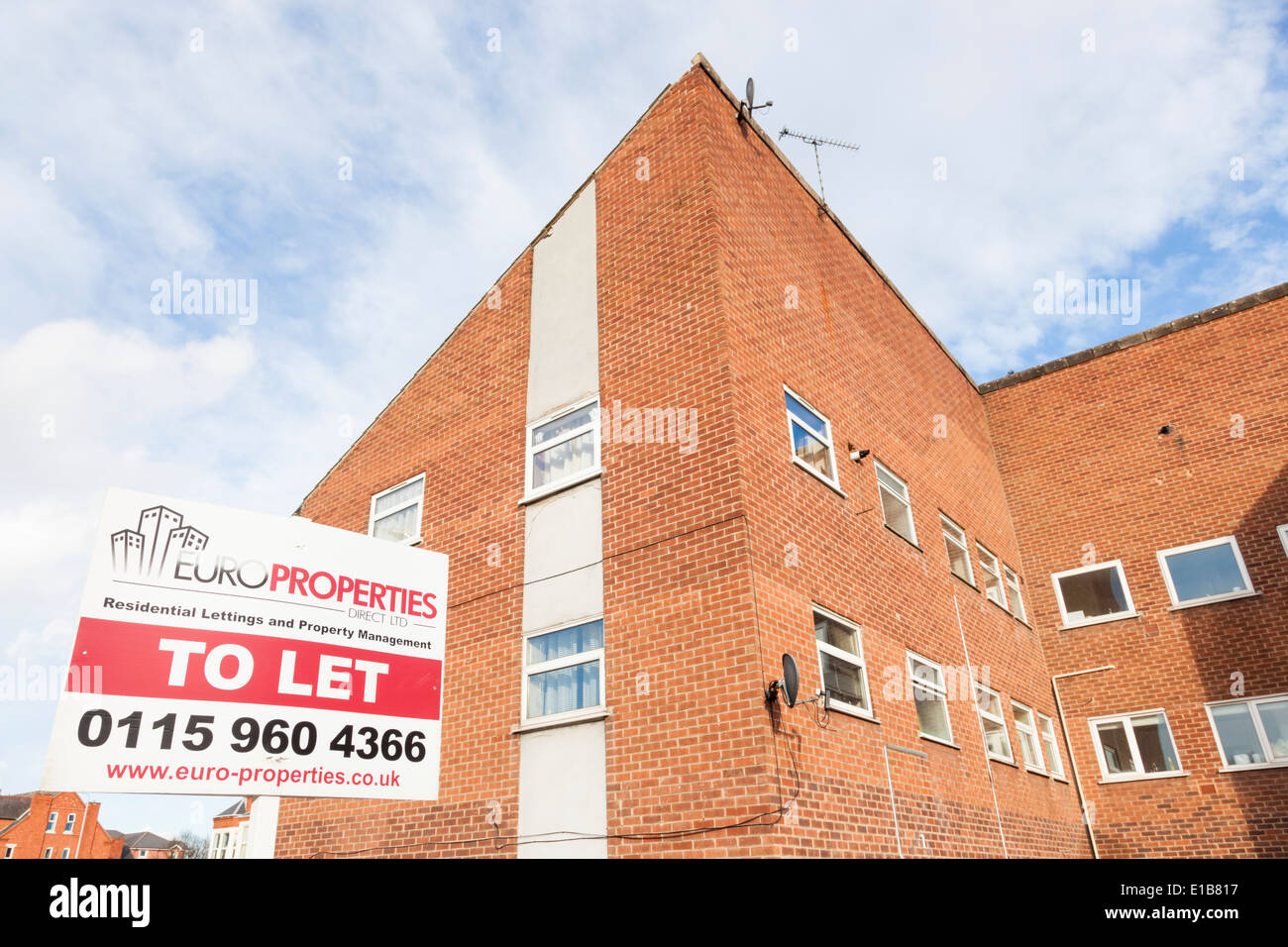 Letting agent board or sign showing apartments, flats and housing property to let, Nottinghamshire, England, UK - Stock Image