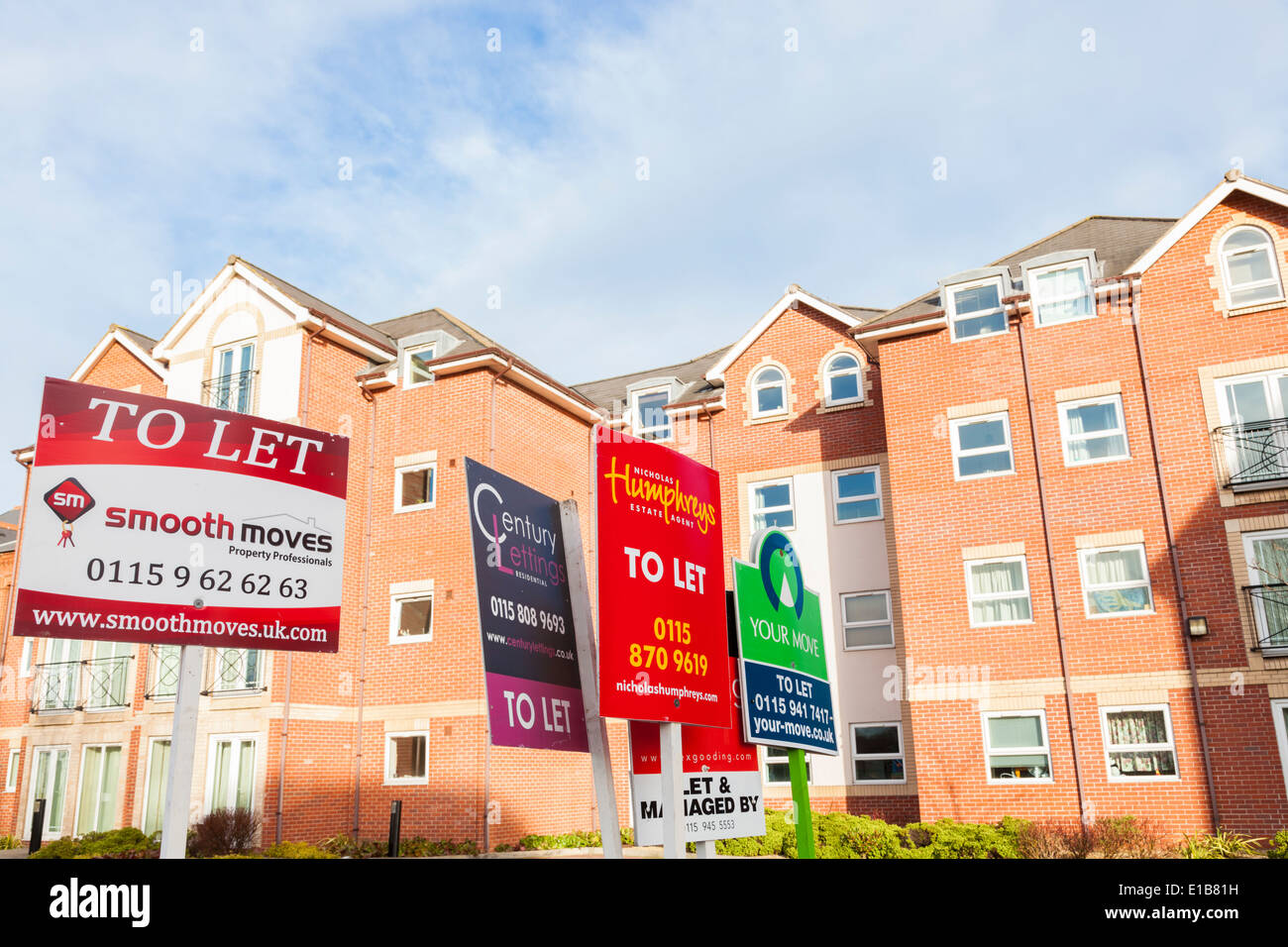 Letting agent boards and signs showing apartments, flats and housing properties to let, Nottinghamshire, England, UK - Stock Image