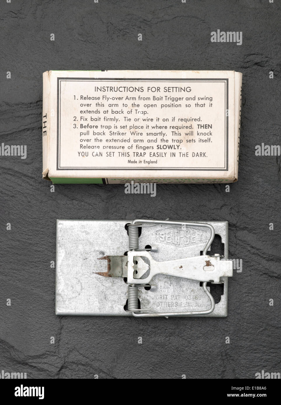 Vintage Mouse Trap with box and instructions - Stock Image