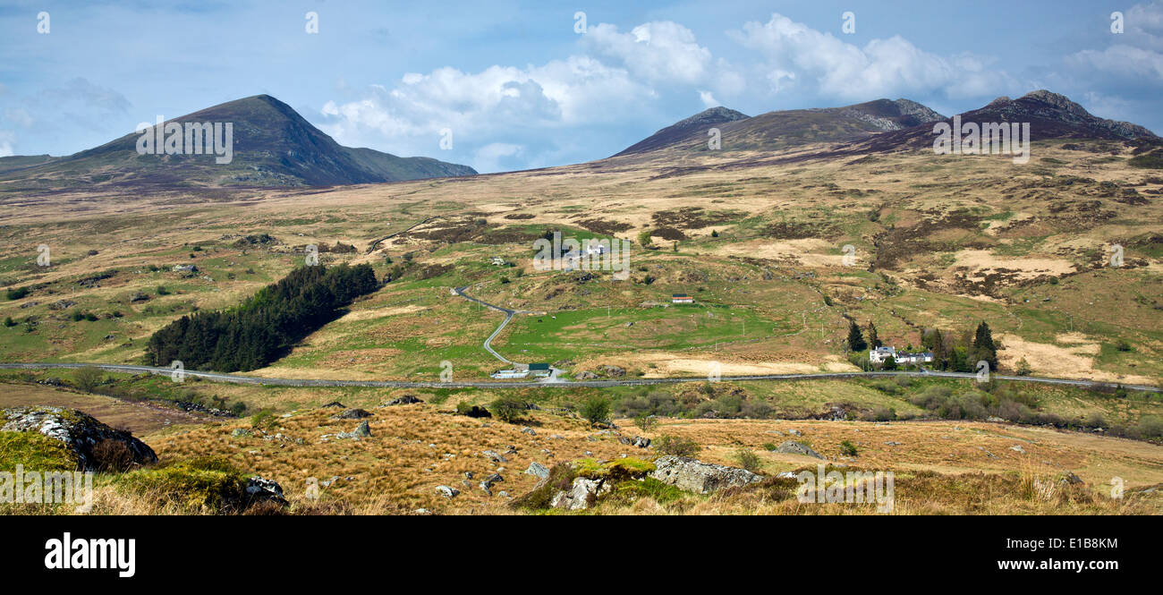 View from the slopes of Cefn Y Capel across the A5 road at Capel Curig in Snowdonia National Park Gwynedd North Wales UK, Late S - Stock Image