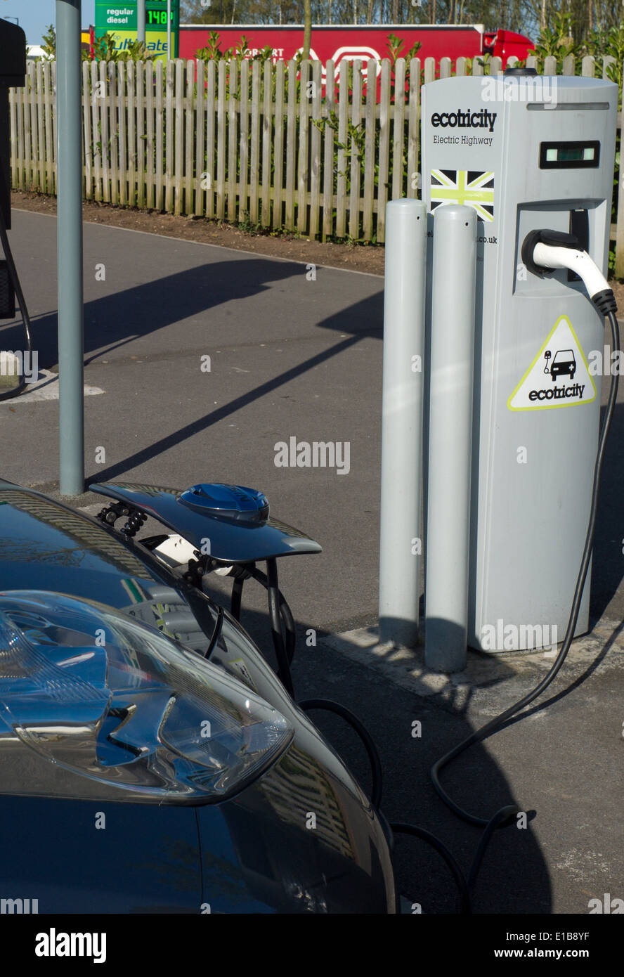 Ecotricity free electric car charging point at Michaelwood motorway service station on the M5 North bound gloucestershire - Stock Image