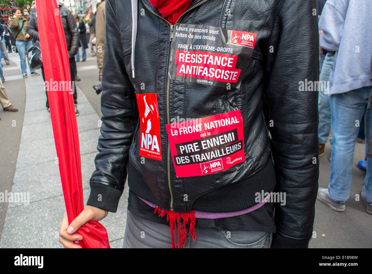 Paris, France. Anti National Front Demonstration by French Teens Students. Detail Stickers on Leather Coat, protests france Stock Photo