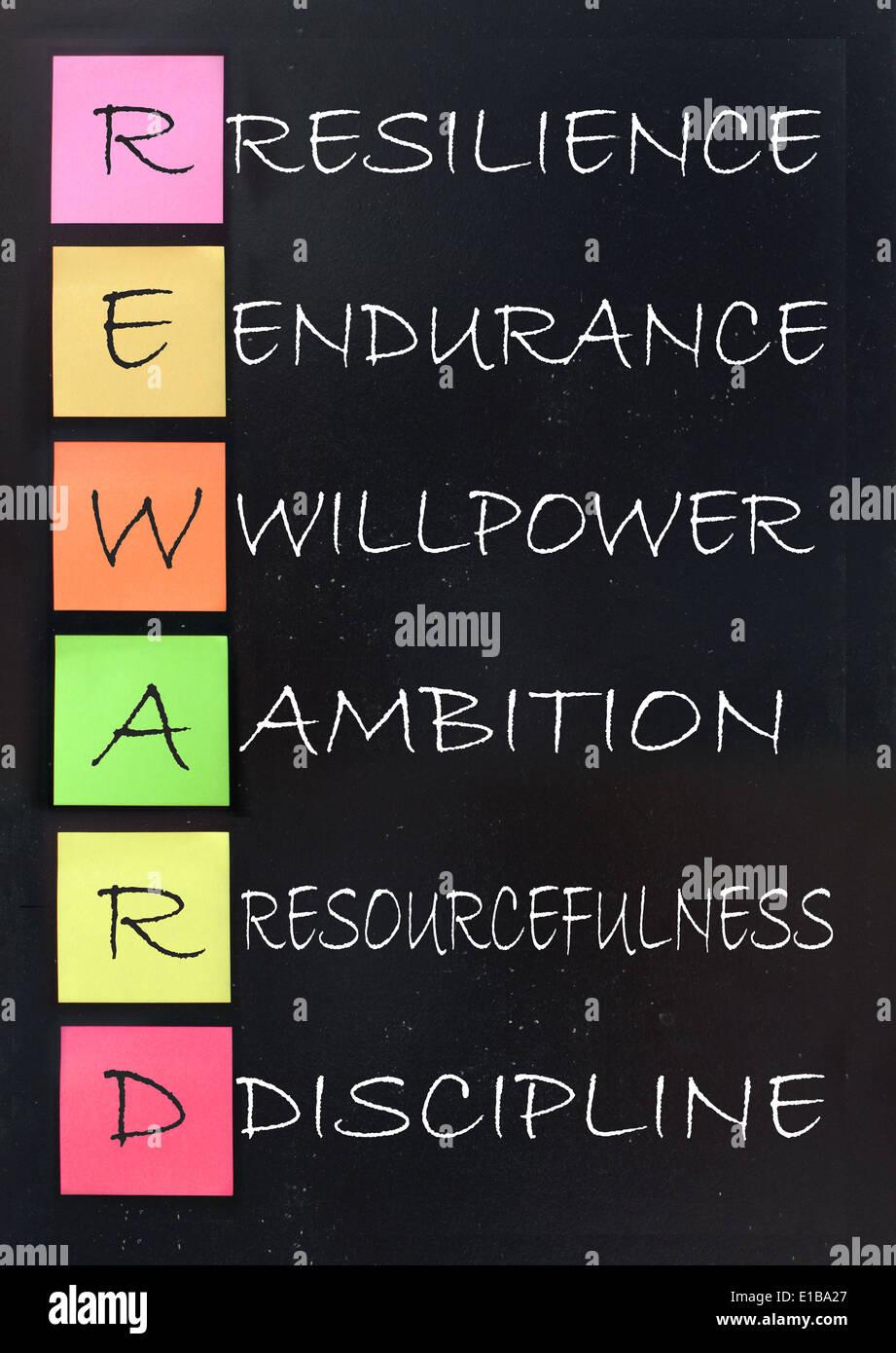Reward acronym handwritten on a blackboard - Stock Image