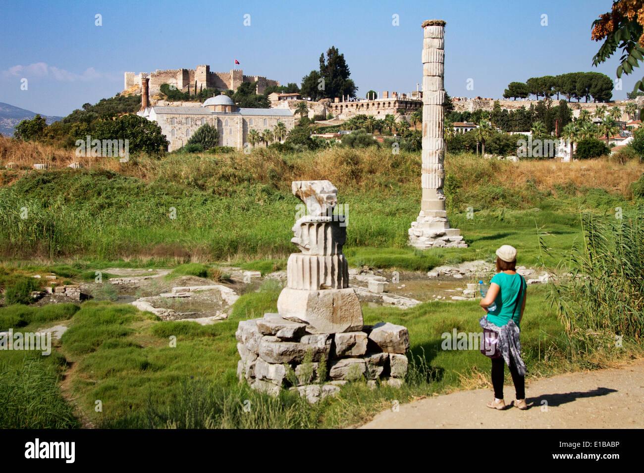 Turkey Izmir Selçuk Temple of Artemis Temple of Diana Temple Artemis Seven Wonders of the Ancient World Seven Wonders Ancient Wo - Stock Image