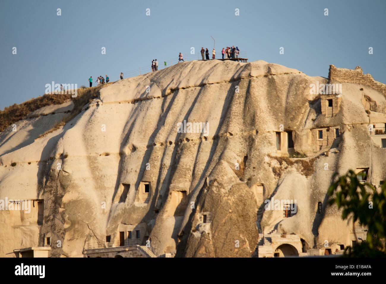 Turkey; Cappadocia; Anatolia; Göreme; People; View; Panorama; Rock; Viewpoint; House; Windows; Walk; Trekking - Stock Image
