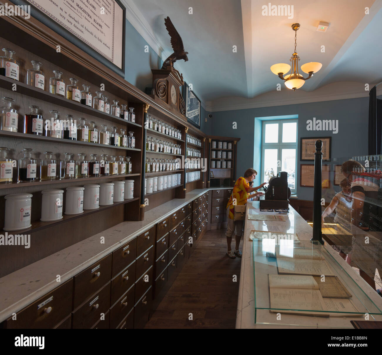 Europe, Poland, Malopolska, Krakow, Pharmacy Under the Eagle Museum, Unesco site - Stock Image