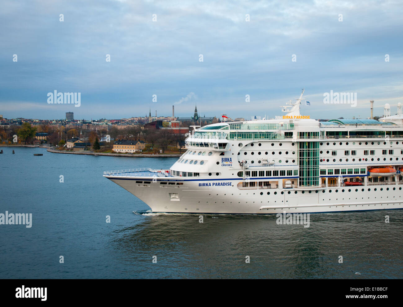 The MS Birka Paradise (renamed the MS Birka Stockholm in 2013), a cruise ship, pulls into the harbour in Stockholm, Stock Photo