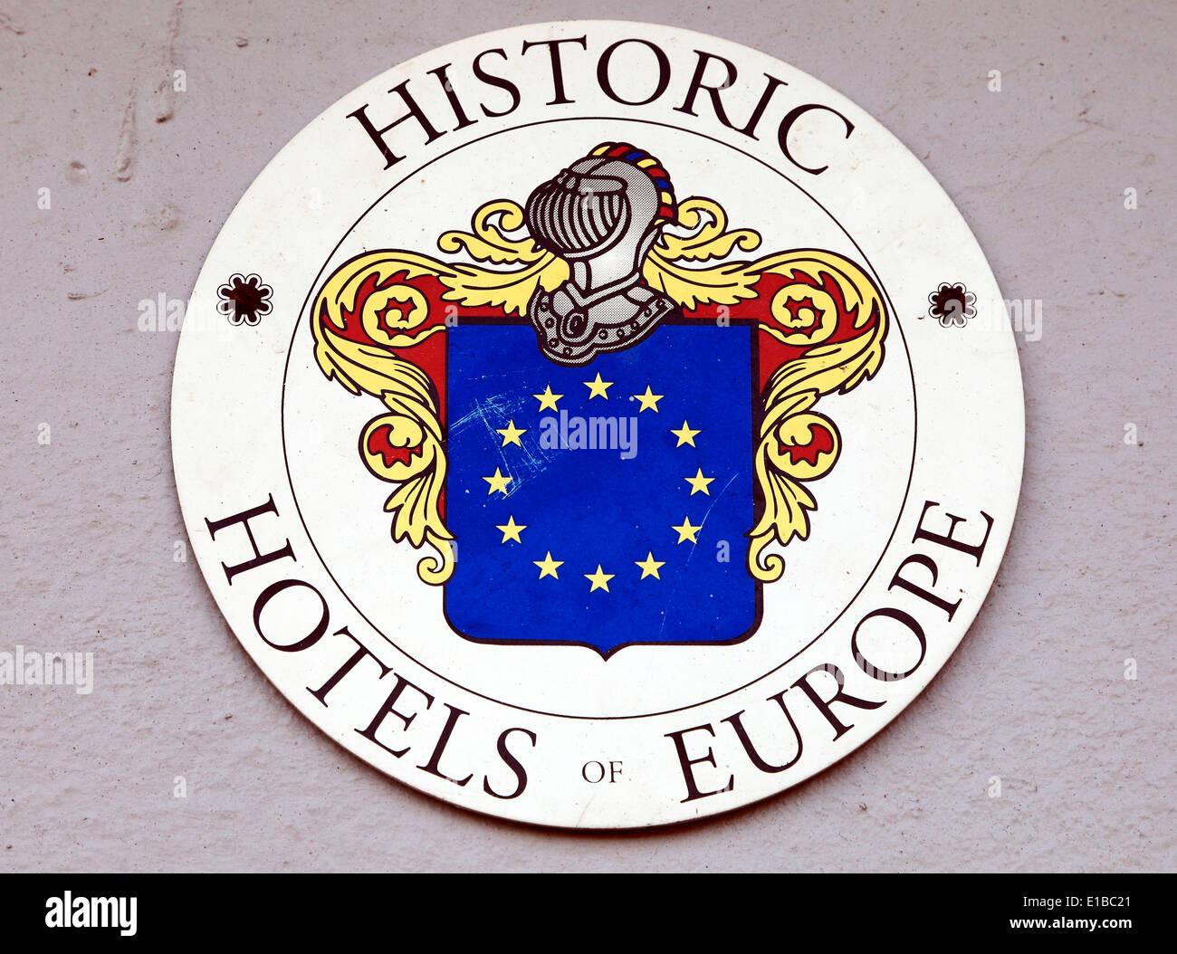 Historic Hotels of Europe Plaque, The Hoste Hotel, Burnham Market Norfolk England UK - Stock Image