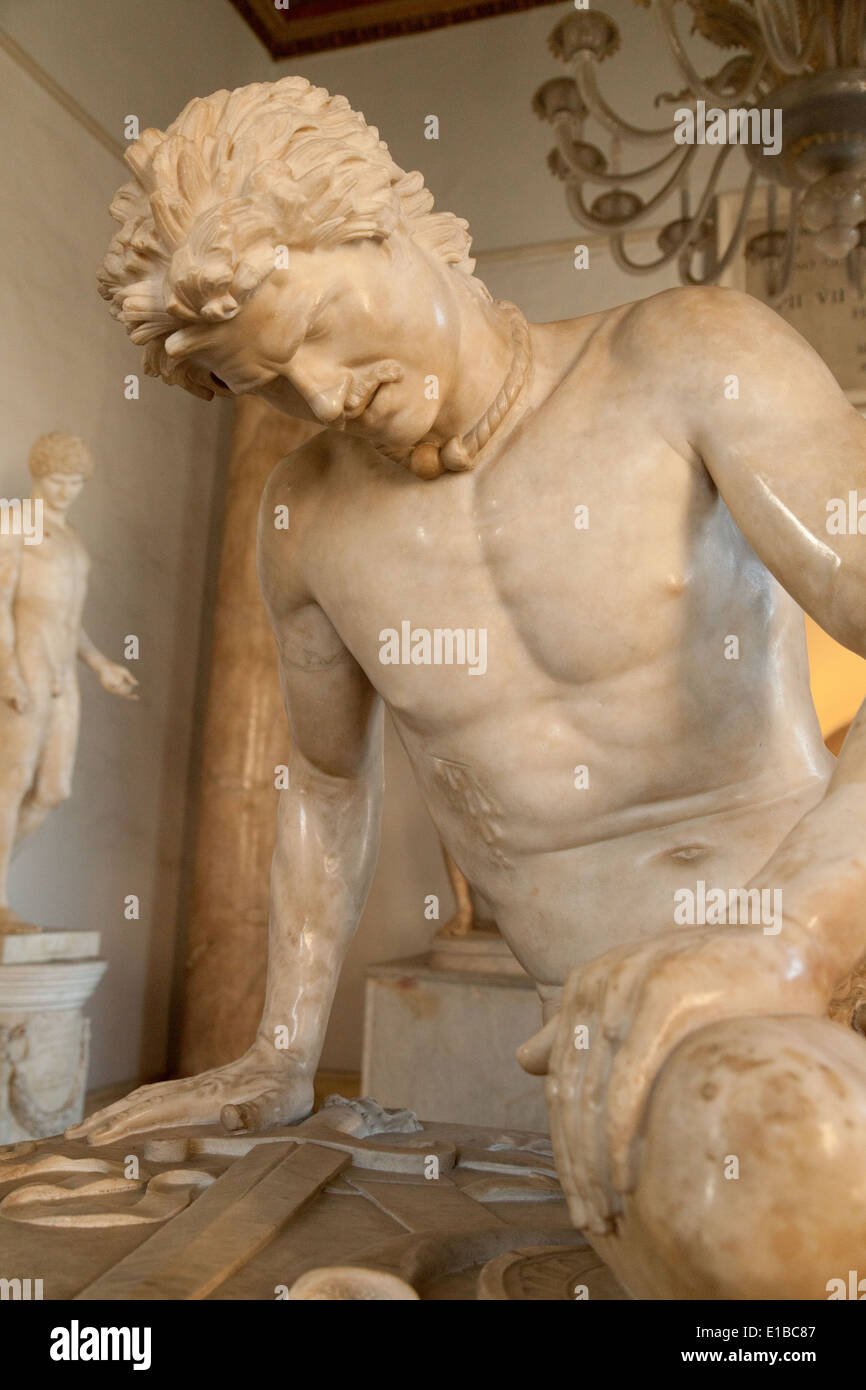 Close up of the statue of the Dying Gaul, Musei Capitolini ( Capitoline Museum ), Rome Italy Europe - Stock Image