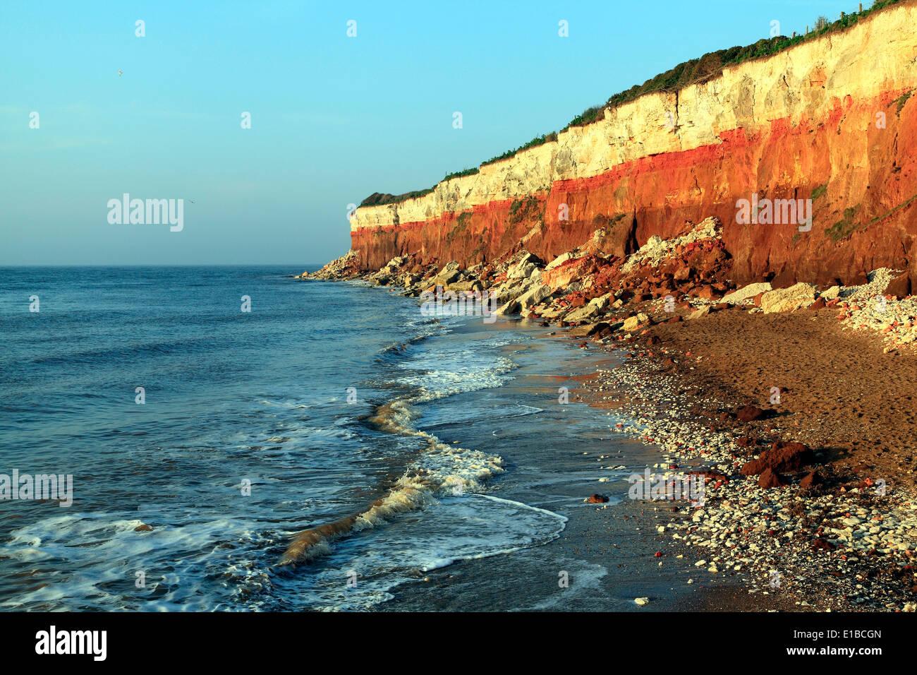Old Hunstanton Cliffs, High Tide, Norfolk England English North Sea coast coasts coastal scenery beach beaches UK - Stock Image