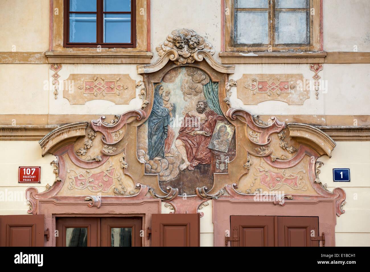 Fresco on wall of U Cerného Vola (The Black Ox) at Loretanska street, Prague, Czech Republic - Stock Image