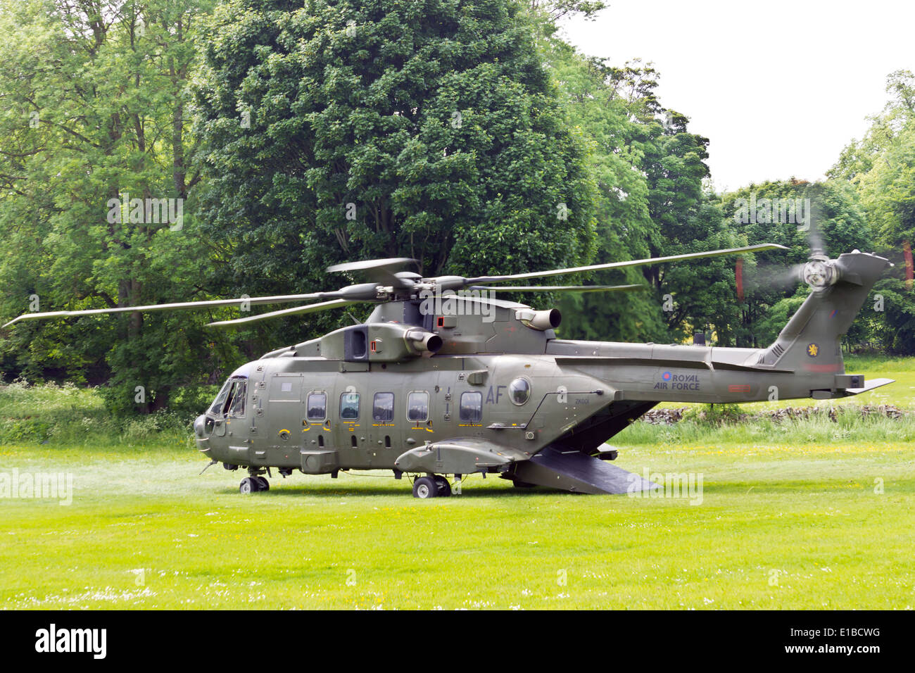 British Army helicopter landed in a countryside. Stock Photo