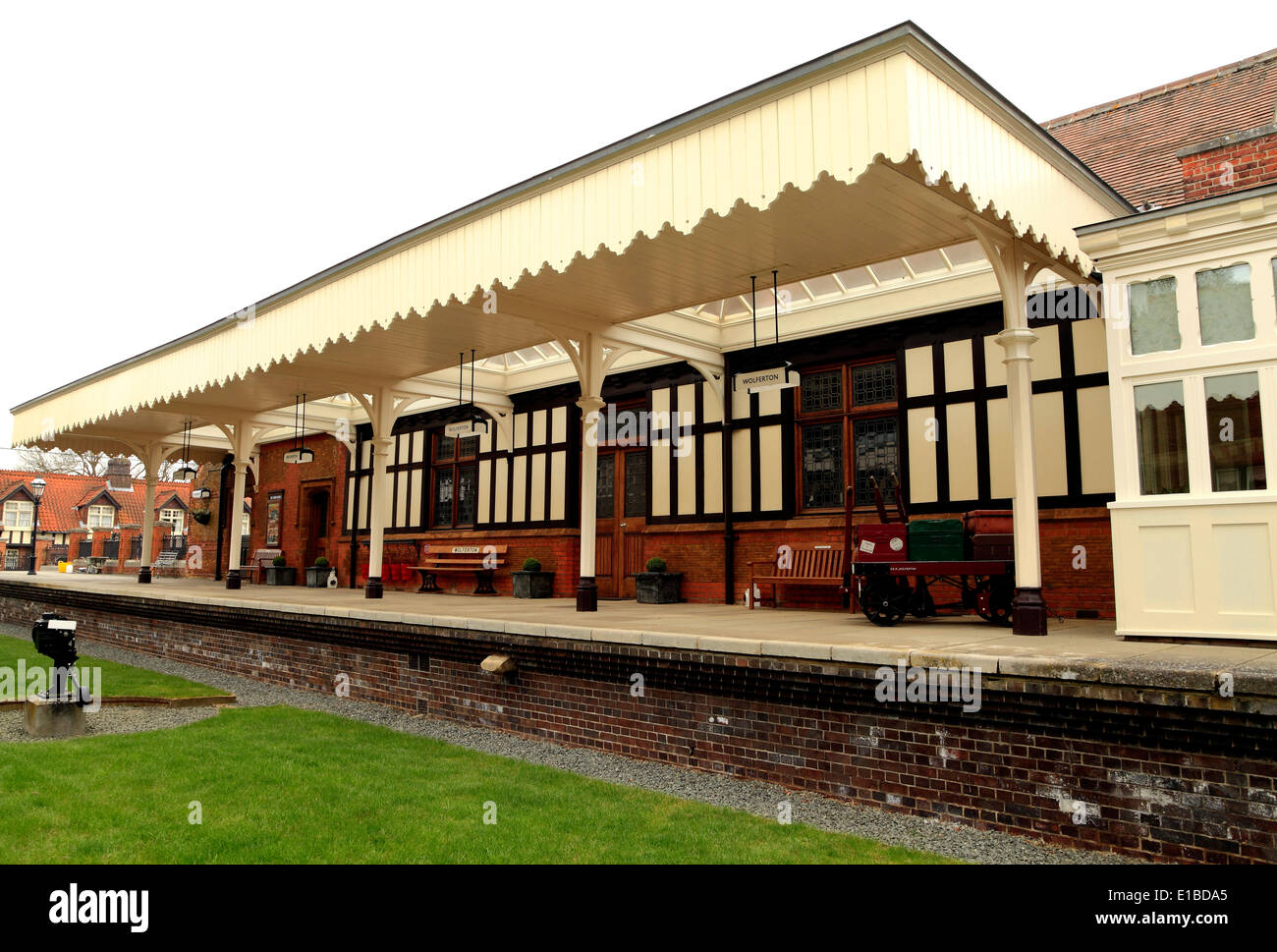 Wolferton, The Royal Railway Station, Norfolk, England UK, p preserved 19th century English stations building buildings platform - Stock Image