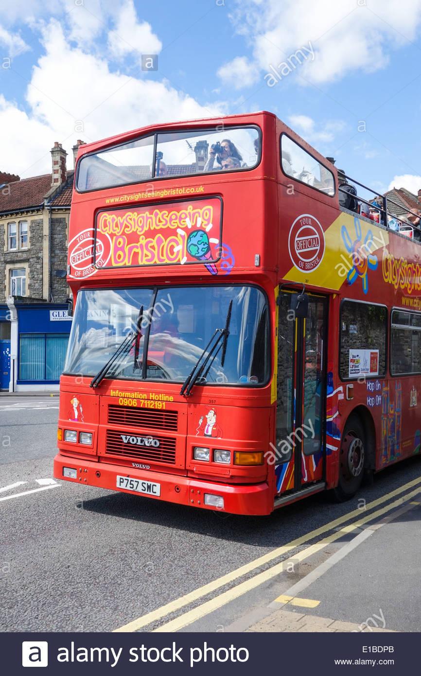 Open top sightseeing bus near to Bristol Docks - Stock Image