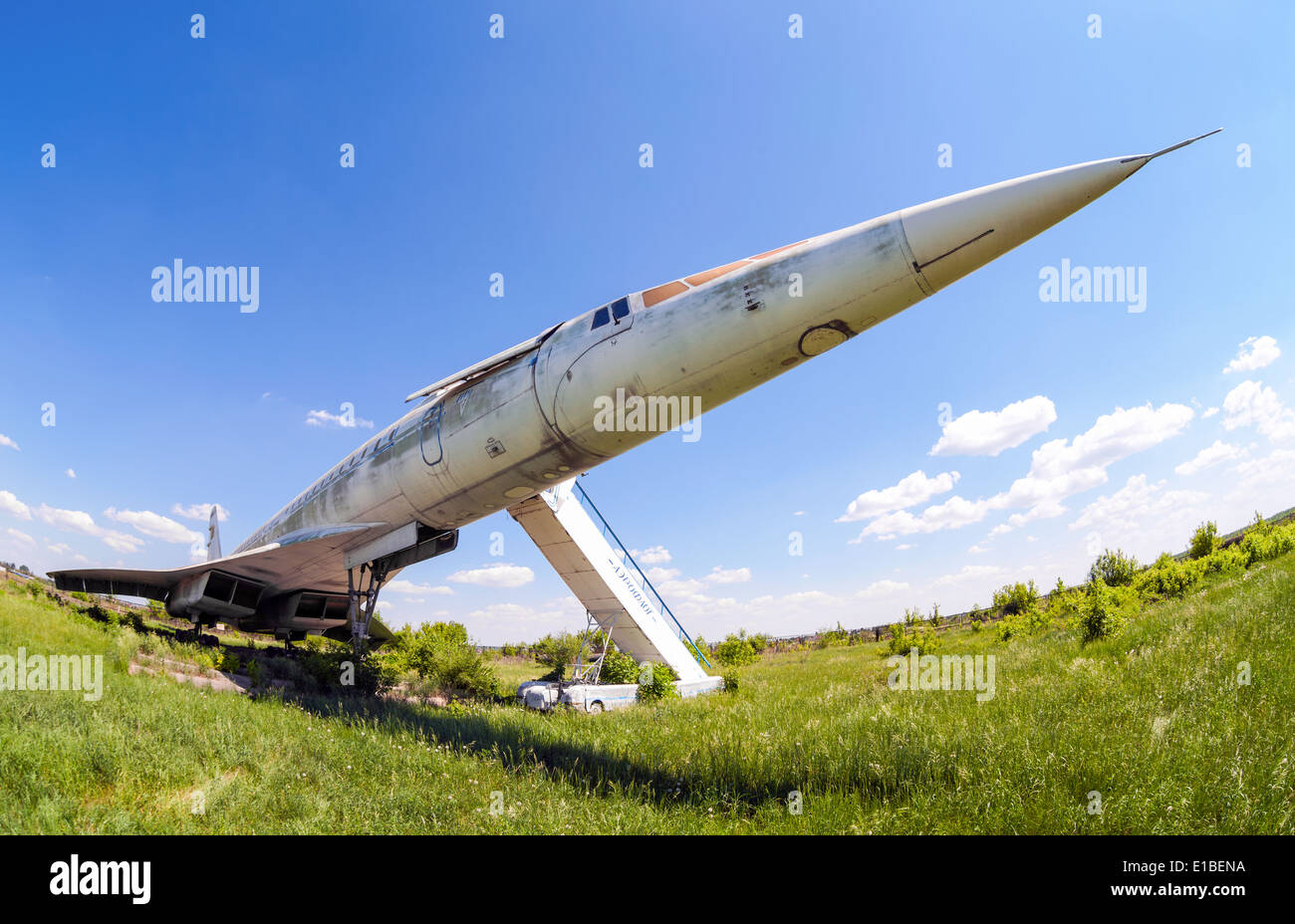 Tupolev Tu-144 plane was the first in the world commercial supersonic transport aircraft - Stock Image