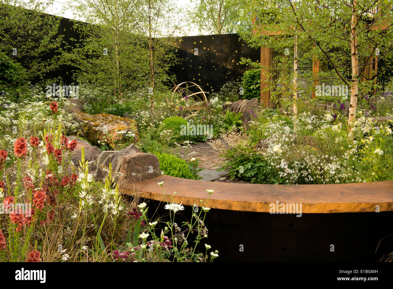 A section of the Vital Earth Night Sky Garden at The Chelsea Flower Show 2014 - Stock Image