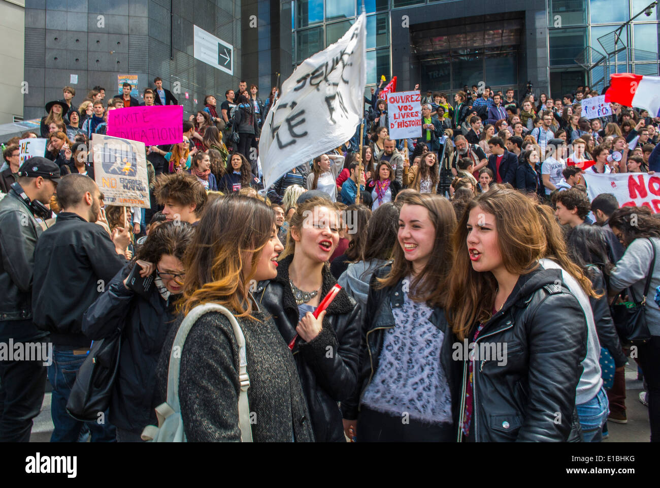 Paris, France, Far Left, Anti-National Front Demonstration by French Teens Students, - Stock Image