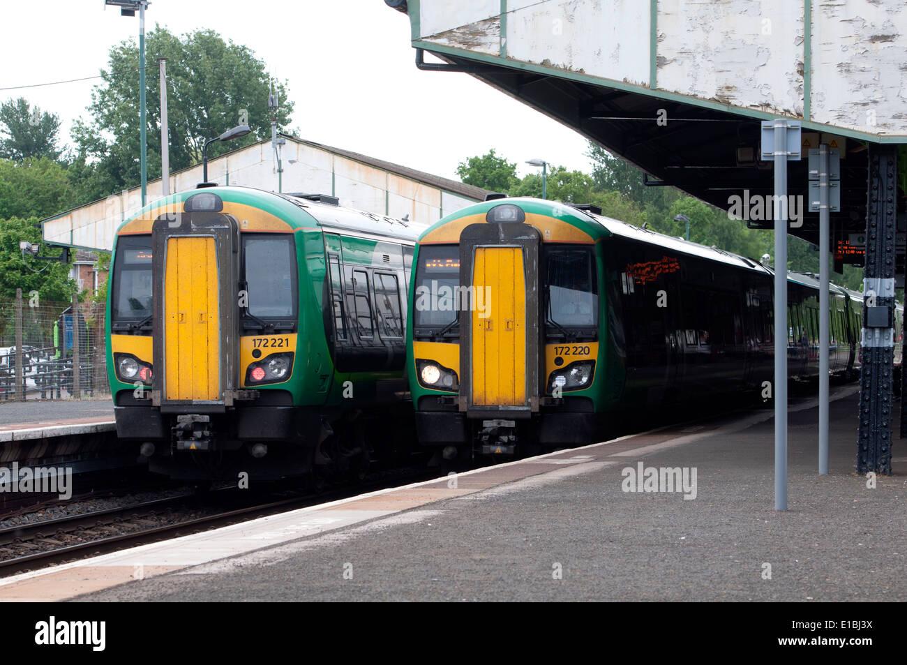 London Midland class 172 diesel trains at Stourbridge Junction station, Worcestershire, UK - Stock Image