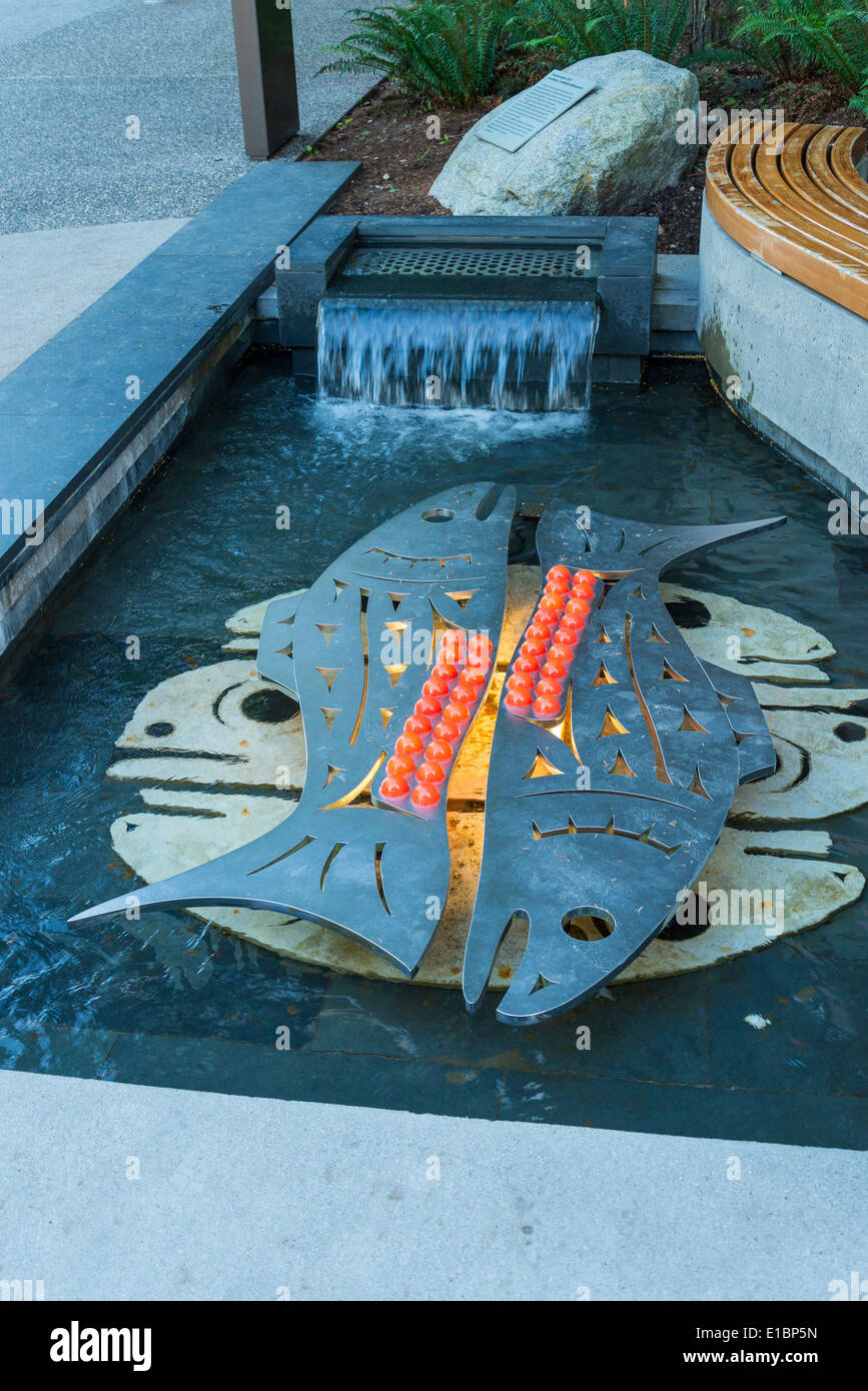 Art in pool depicting salmon spawning, Museum of Anthropology, Vancouver, British Columbia, Canada - Stock Image