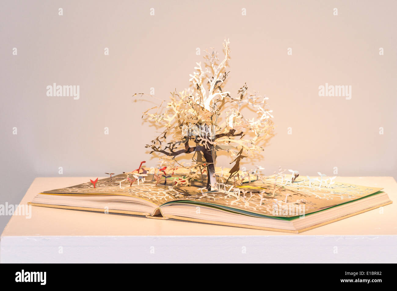 Book with pop up art tree. - Stock Image
