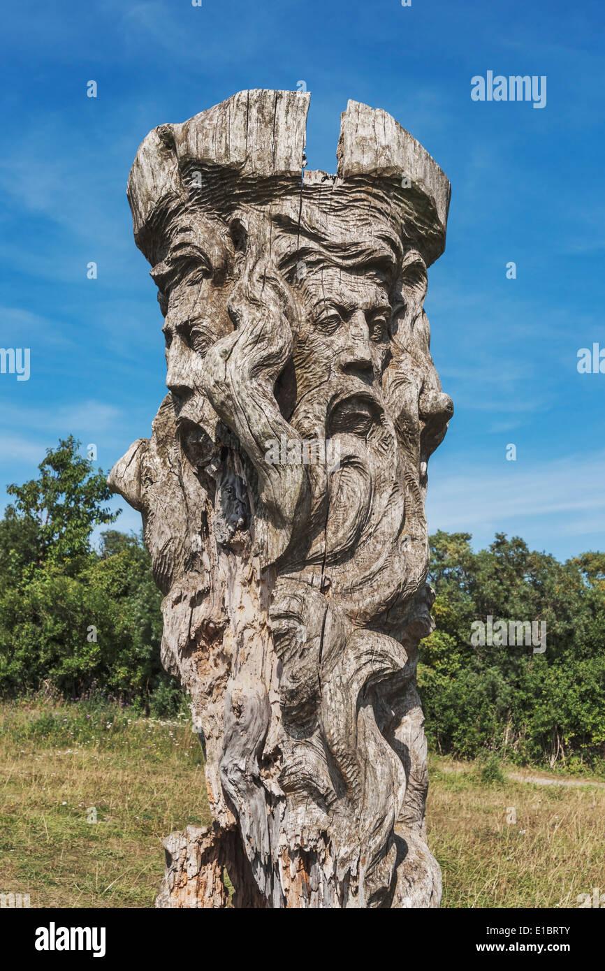 God sculpture Svantevit at the Slavic Jaromarsburg at Cape Arkona, Ruegen Island, Mecklenburg-Western Pomerania, Germany, Europe - Stock Image