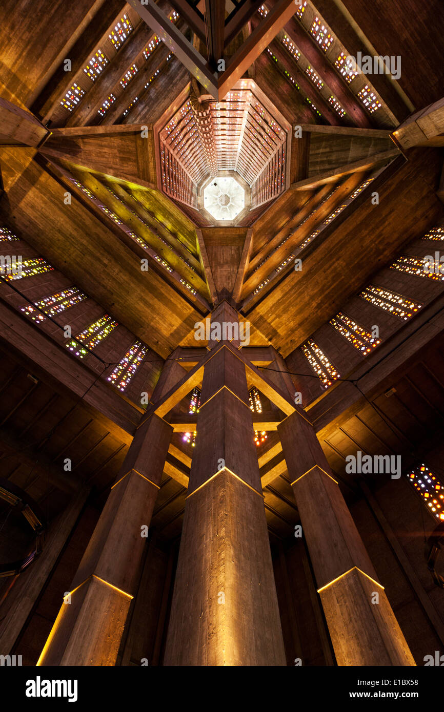 Interior view of the bell tower of Saint Joseph's church at Le Havre - Stock Image