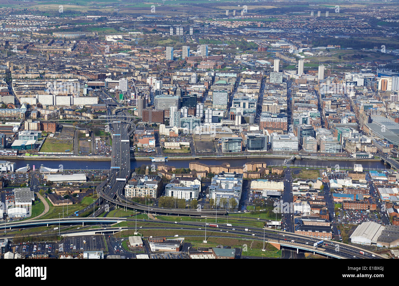 Glasgow City Centre from the air, Central Scotland, UK, from the south with the river Clyde and Kingston Bridge foreground - Stock Image