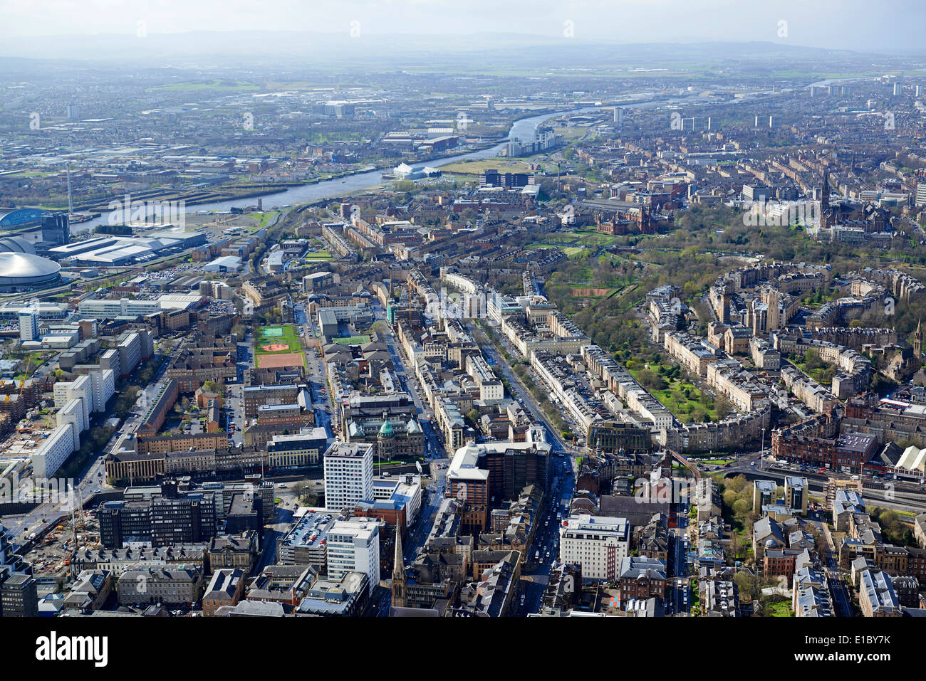 Glasgow City Centre from the air, Central Scotland, UK, looking east over the west end and the Clyde - Stock Image