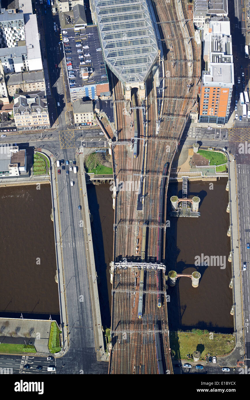 The approach tracks to Central Station, Glasgow City Centre from the air, Central Scotland, UK - Stock Image