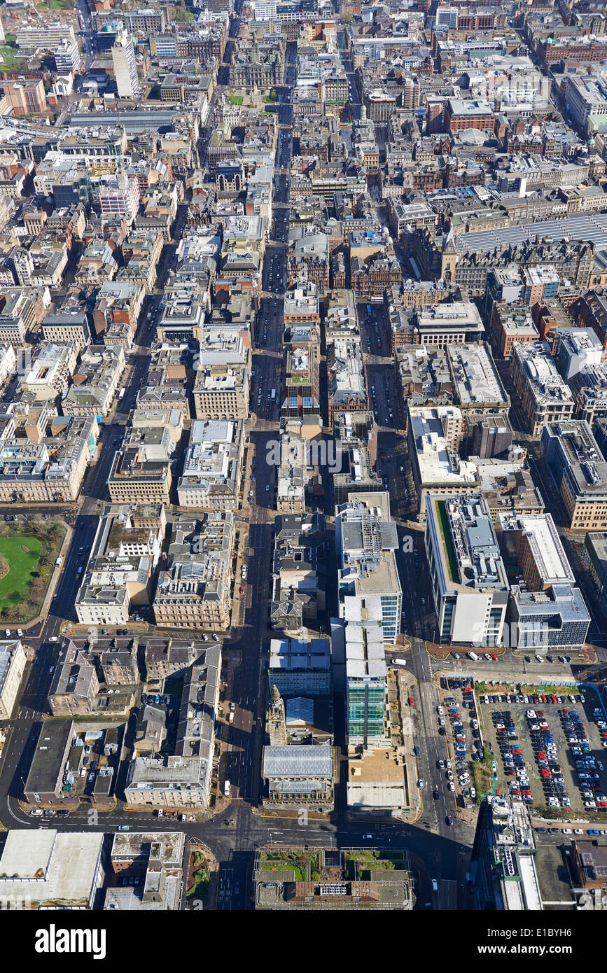 Glasgow City Centre from the air, Central Scotland, UK, showing Glasgow's grid pattern streets, looking west to east - Stock Image
