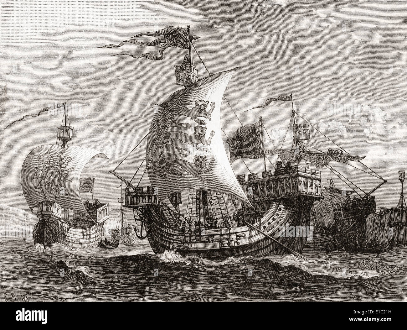 English ships in the 14th century. - Stock Image