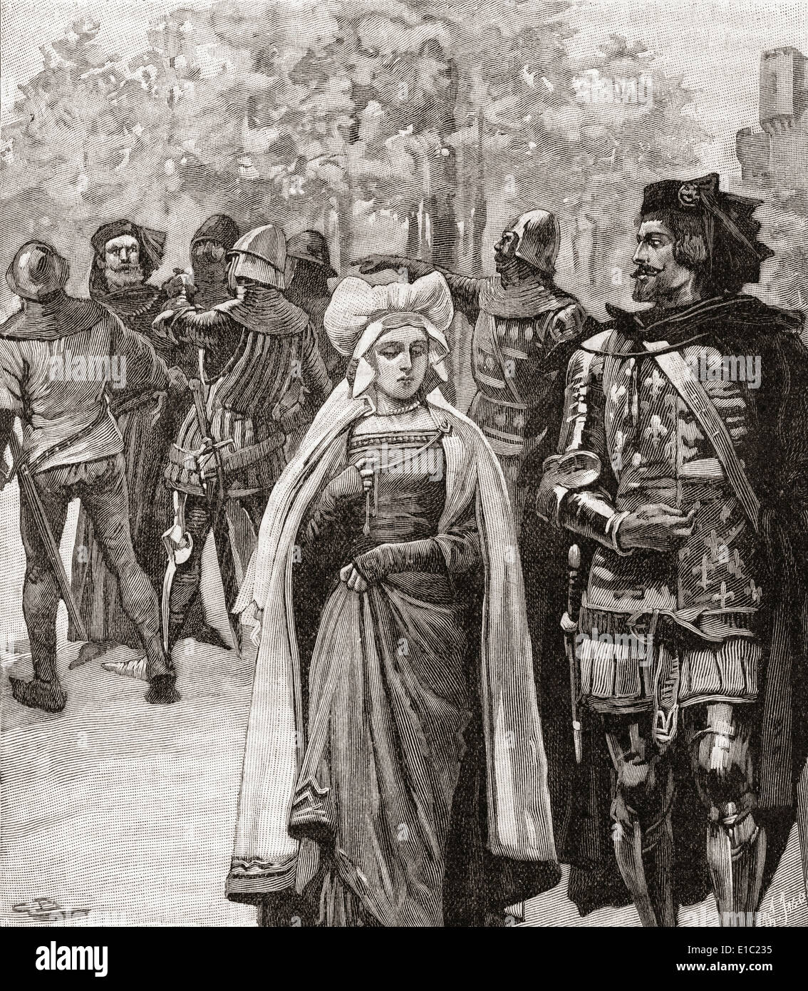 The arrest for treason of Thomas of Woodstock, 1st Duke of Gloucester by Richard II in 1397. Stock Photo
