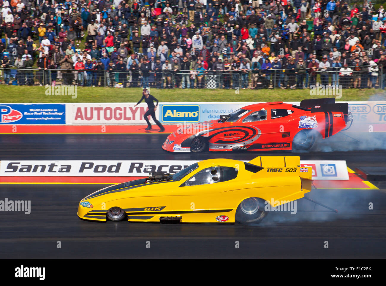 Top Methanol funny cars drag racing at Santa Pod. Gareth Ellis Stock ...