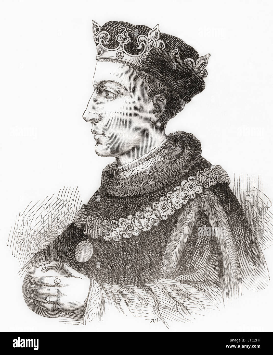 Henry V , 1386 – 1422, aka the Star of England. King of England. From Cassell's History of England, published c.1901 - Stock Image