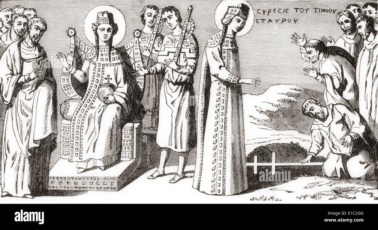 St. Helena discovering the True Cross during a pilgrimage to the Roman province of Syria Palaestina in the 4th century. - Stock Image