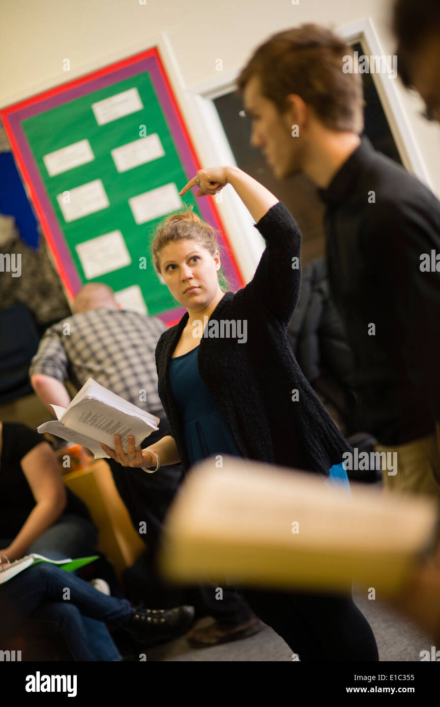 Aberystwyth University student drama students rehearsing 'Much Ado About Nothing' by William Shakespeare - Stock Image